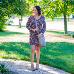 Fall Florals: Old Navy Shift Dress with Ankle Boots