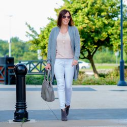 Pink & Grey Outfit for Fall