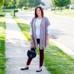3 Ways to Style Burgundy Jeans: Blush Poncho
