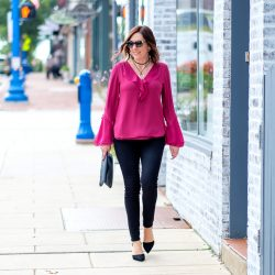Fall Date Night Outfit: Ruffle Blouse + Black Jeans