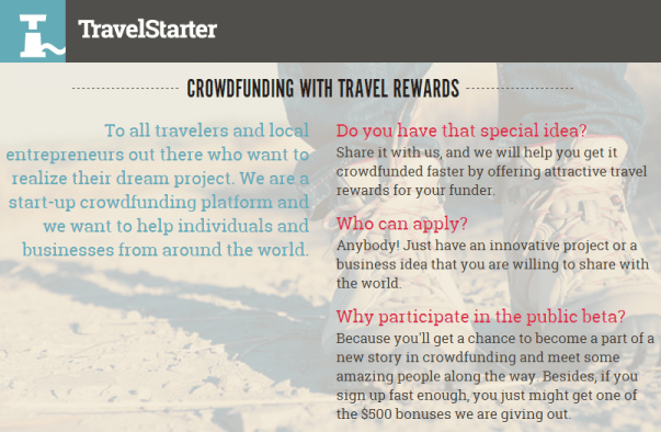 travelstarter travel rewards crowdfunding