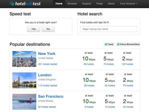 hotel wifi test landing