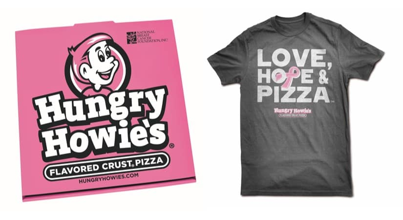 HUNGRY HOWIE'S PINK PIZZA BOXES AND LOVE, HOPE & PIZZA TEES