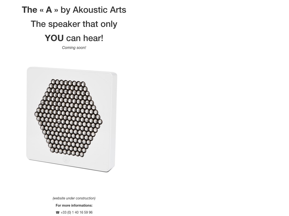 A the speaker that only you can hear akoustic arts - 157 boulevard macdonald 75019 paris ...
