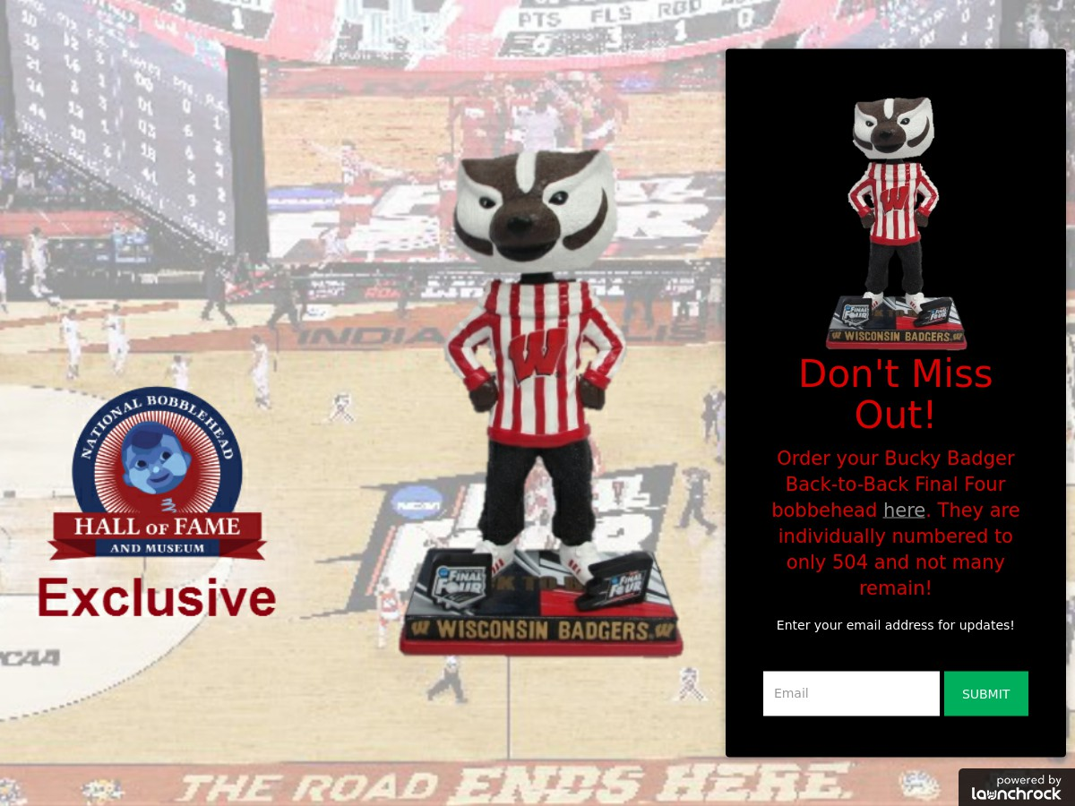 Wisconsin Badgers Bucky Back To Back Final Four Bobblehead