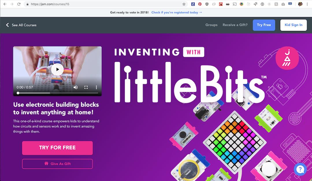 littleBits, JAM.com, register to vote banner