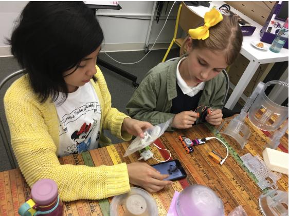 littleBits, code kit, kids working