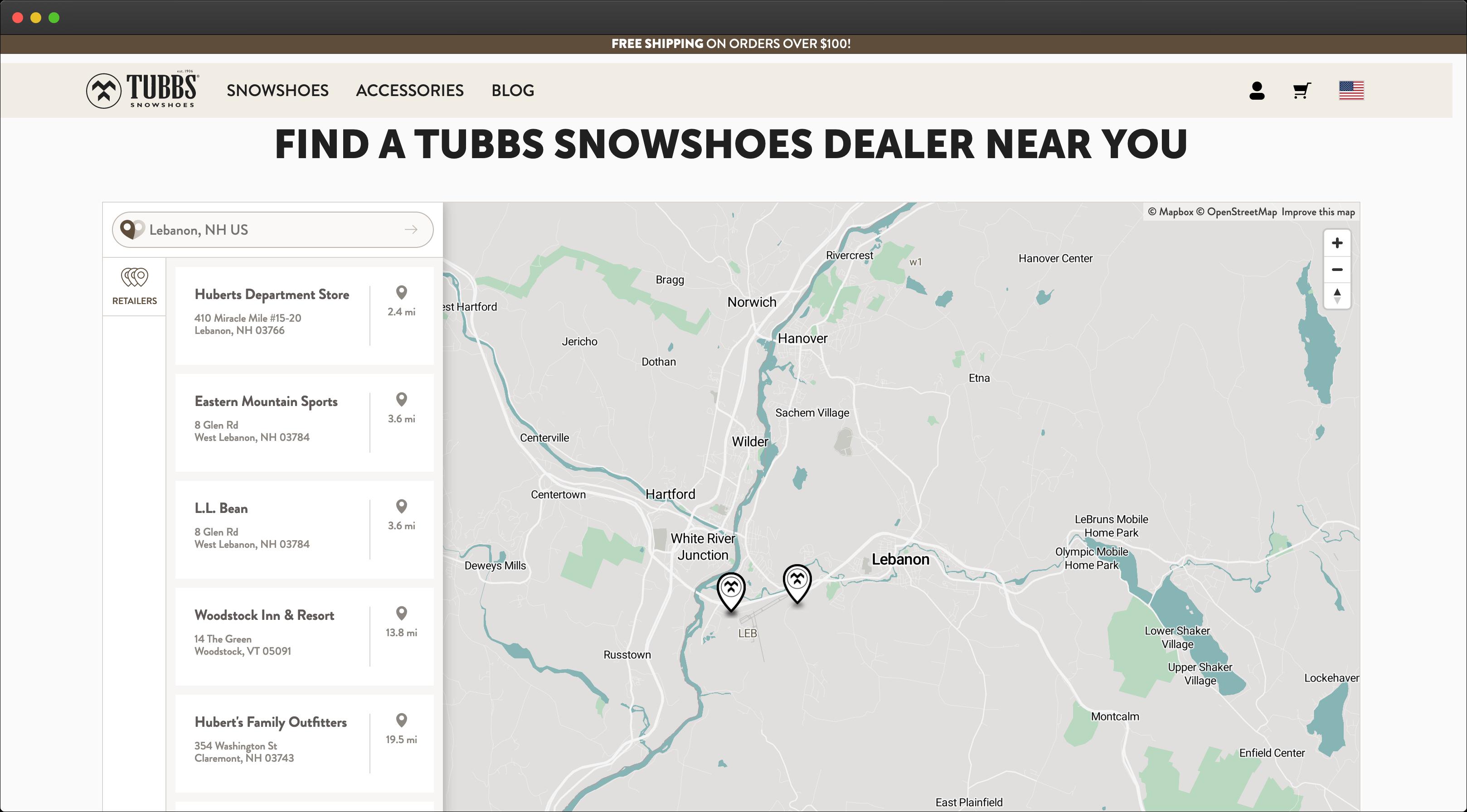 Tubbs Store Locator