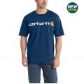 Dark Cobalt Blue Heather - Carhartt - Men's Signature Logo SS MW Jersey TShrt Gphc