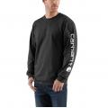 Black - Carhartt - Men's Signature Sleeve Logo LS TShrt Org Fit