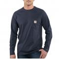 Navy - Carhartt - Force® Cotton Delmont Long-Sleeve T-Shirt