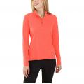 Hot Coral Heather - Carhartt - Women's Force Delmont Quarter Zip Shirt