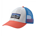 White w/Carve Coral - Patagonia - P-6 Logo LoPro Trucker Hat