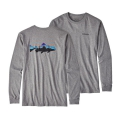 Gravel Heather - Patagonia - Men's L/S Fitz Roy Trout Cotton T-Shirt