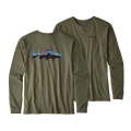 Industrial Green - Patagonia - Men's L/S Fitz Roy Trout Cotton T-Shirt