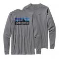 Gravel Heather - Patagonia - Men's L/S P-6 Logo Cotton T-Shirt