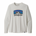 Fitz Roy Horizons: White - Patagonia - Men's L/S Cap Cool Daily Graphic Shirt
