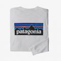 White - Patagonia - Men's L/S P-6 Logo Responsibili-Tee