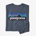 Plume Grey - Patagonia - Men's L/S P-6 Logo Responsibili-Tee