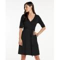 Black - Toad&Co - Women's Cue Wrap Cafe Dress