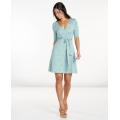Aquifer Wave Print - Toad&Co - Women's Cue Wrap Cafe Dress