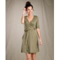 Rustic Olive - Toad&Co - Women's Cue Wrap Cafe Dress