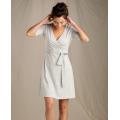 Heather Grey Mini Stripe - Toad&Co - Women's Cue Wrap Cafe Dress