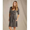 Cocoa Stripe Print - Toad&Co - Women's Cue Wrap Cafe Dress