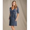 Deep Navy Mini Stripe - Toad&Co - Women's Cue Wrap Cafe Dress