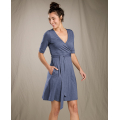 Blue Shadow - Toad&Co - Women's Cue Wrap Cafe Dress