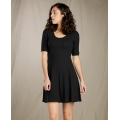 Black - Toad&Co - Women's Daisy Rib Café Slv Dress