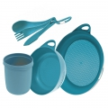 Pacific Blue - Sea to Summit - Delta Camp Set :  Bowl & Plate & Mug & Cutlery