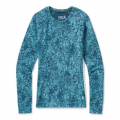 Wave Blue Traced Dahlia - Smartwool - Women's Merino 250 Baselayer Pattern Crew