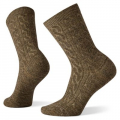 Camel-Chestnut Marl - Smartwool - Women's Everyday Cable Crew Socks