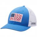 Vivid Blue, White - Columbia - Unisex PFG Fish Flag Mesh Snap Back - High