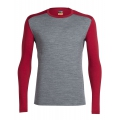 Gritstone Heather/Oxblood - Icebreaker - Men's Oasis LS Crewe