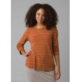 Copper Heather Stripe - Prana - Women's Foundation Long Sleeve Crew