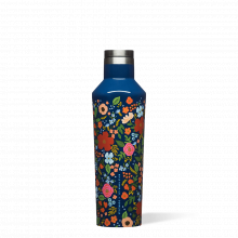 Canteen - 16oz Rifle Paper - Gloss Navy Wild Rose by Corkcicle