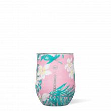 Stemless - 12oz Vineyard Vines Pink Tropical Flowers