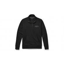 French Terry Quarter Zip Pullover - Black