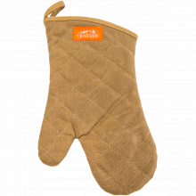 Bbq Mitt - Brown Canvas And Leather