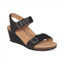 Women's Grace Woven Qtr Strap Black by Aetrex in Knoxville TN