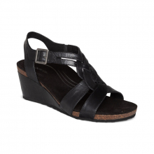 Women's Keira Woven Qtr Strap Black by Aetrex in College Station TX