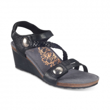 Women's Naya Braid Qtr Strp Wdg Sndl Blk by Aetrex in Broomfield CO