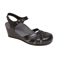 Women's Lindsay Closed Toe Wedge Black by Aetrex in Lincoln NE