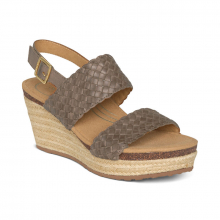 Women's Summer Woven Qtr Strp Taupe by Aetrex in St Joseph MO