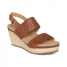 Women's Summer Woven Qtr Strp Cognac by Aetrex in St Joseph MO