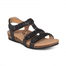 Women's Reese Braided Gladiator Black by Aetrex in Garden City KS
