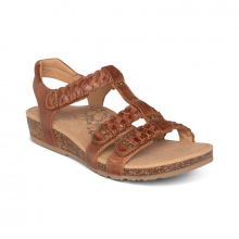Women's Reese Braided Gladiator Brown by Aetrex in Mt Pleasant IA