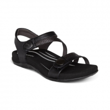 Women's Jess Qtr Strap Black by Aetrex in Washington IA